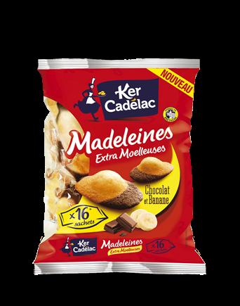 Madeleines extra moelleuses chocolat et banane