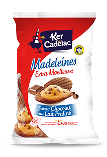 MADELEINES EXTRA MOELLEUSES CHOCOLAT AU LAIT PRALINÉ