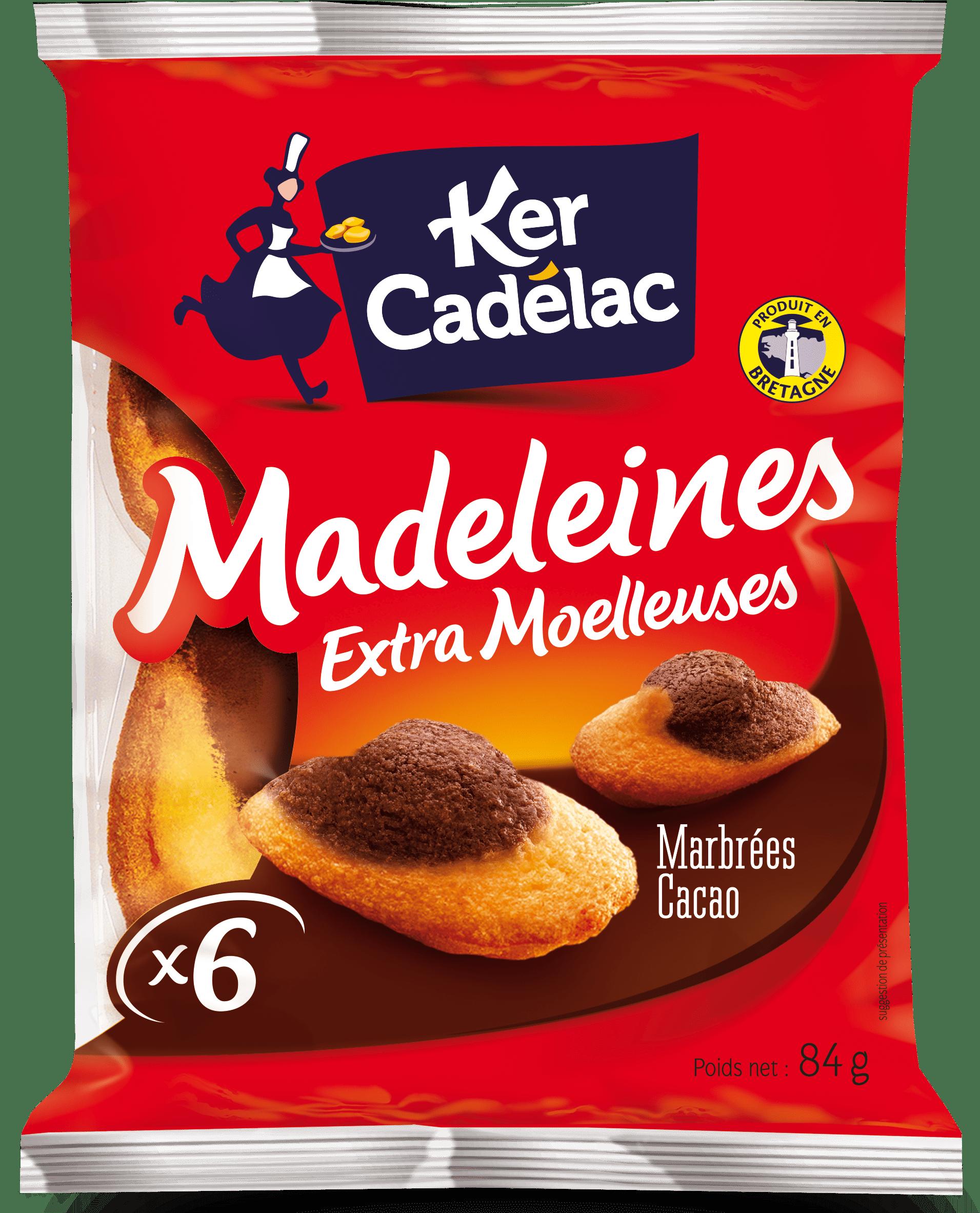 Madeleines Extra Moelleuses marbrées en barquette   Ker Cadélac