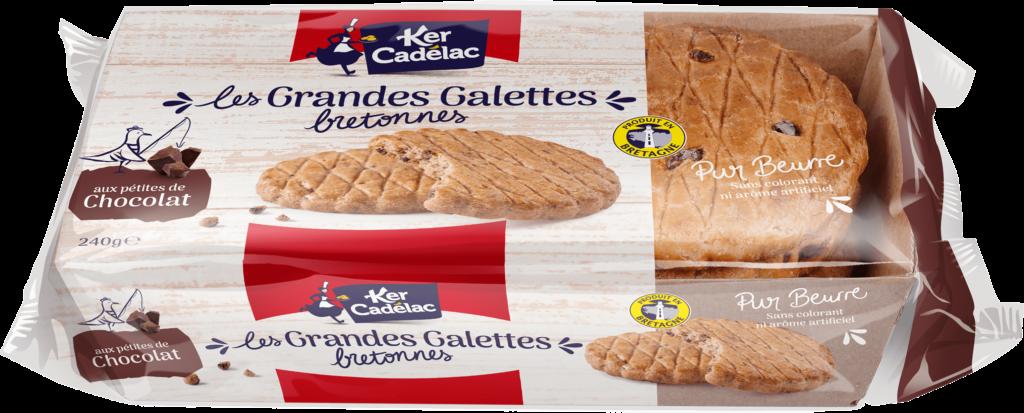 Grandes galettes bretonnes pur beurre pépites de chocolat | Ker Cadélac